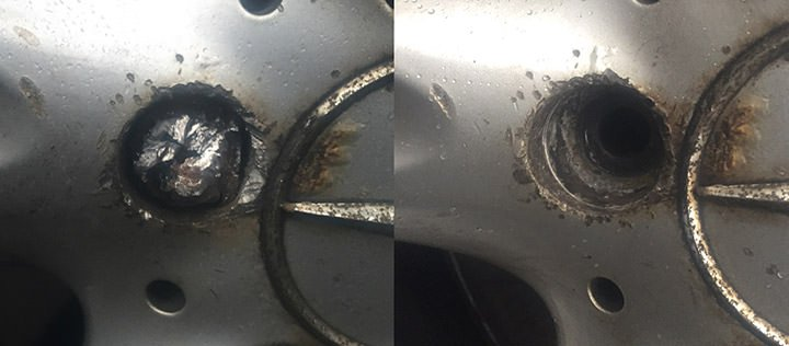 Before - Damaged Mercedes alloy caused by someone trying to do it themselves, After - No other damage to the alloy
